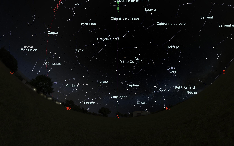 carte du ciel nord du mois de mai
