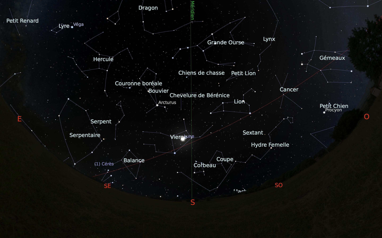 carte du ciel sud du mois de mai