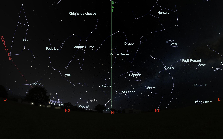 carte du ciel nord du mois de juin
