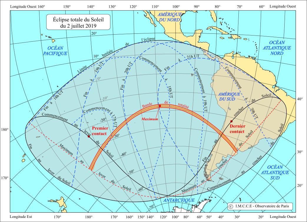 Carte de l'éclipse du 2 juillet 2019.