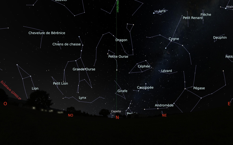 carte du ciel nord du mois de juillet