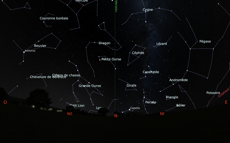 carte du ciel nord du mois d'août