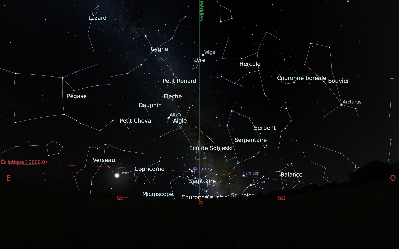 carte du ciel sud du mois d'août