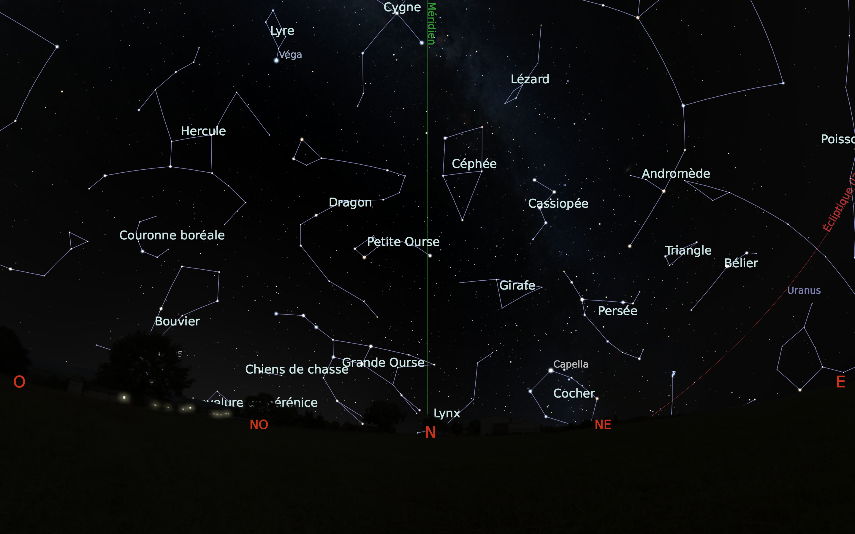 carte du ciel nord du mois de septembre