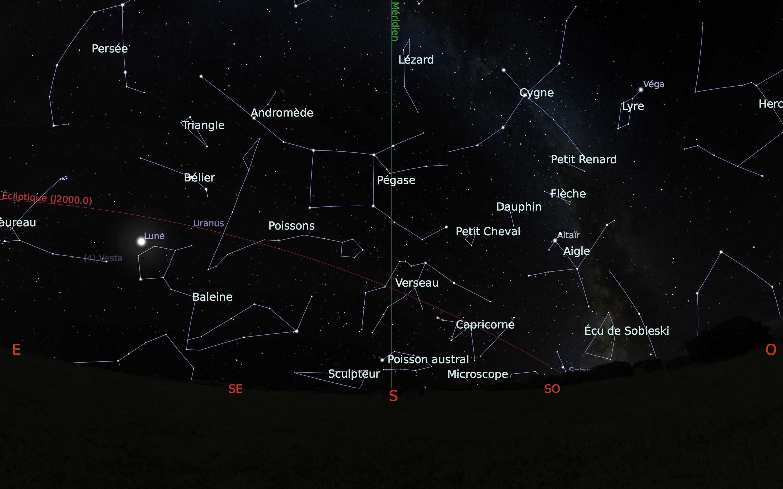 carte du ciel sud du mois de octobre