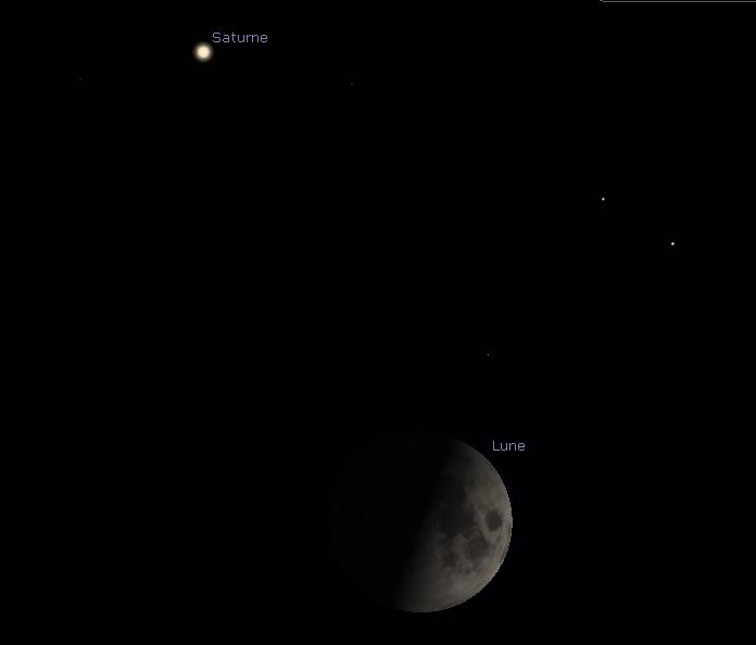 Position et aspect de Saturne et de la Lune, alors en premier quartier, juste après le coucher du Soleil le samedi 5octobre 2019.