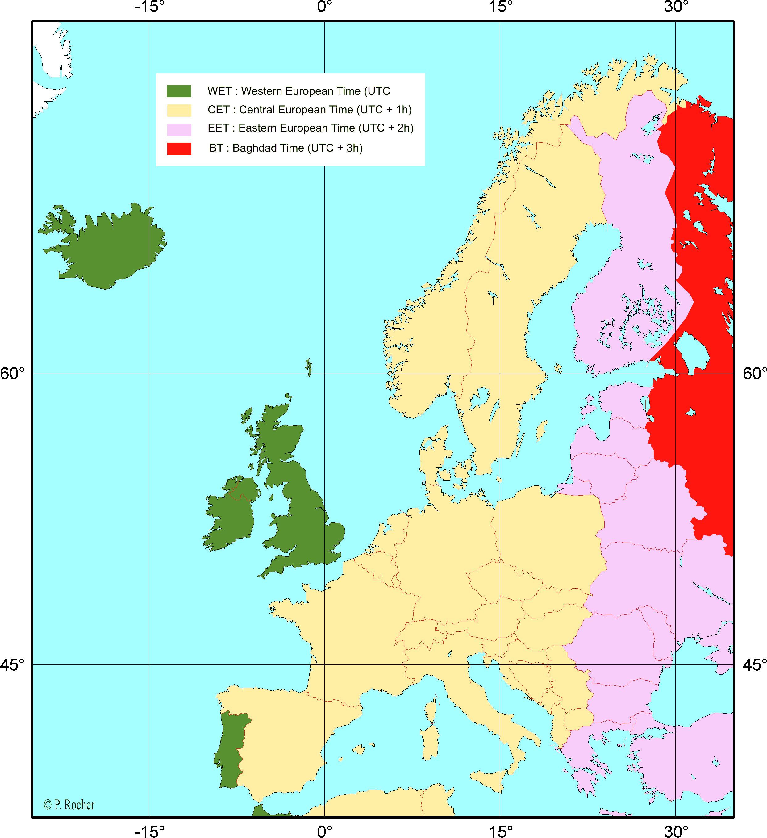 Décalage horaire en Europe.