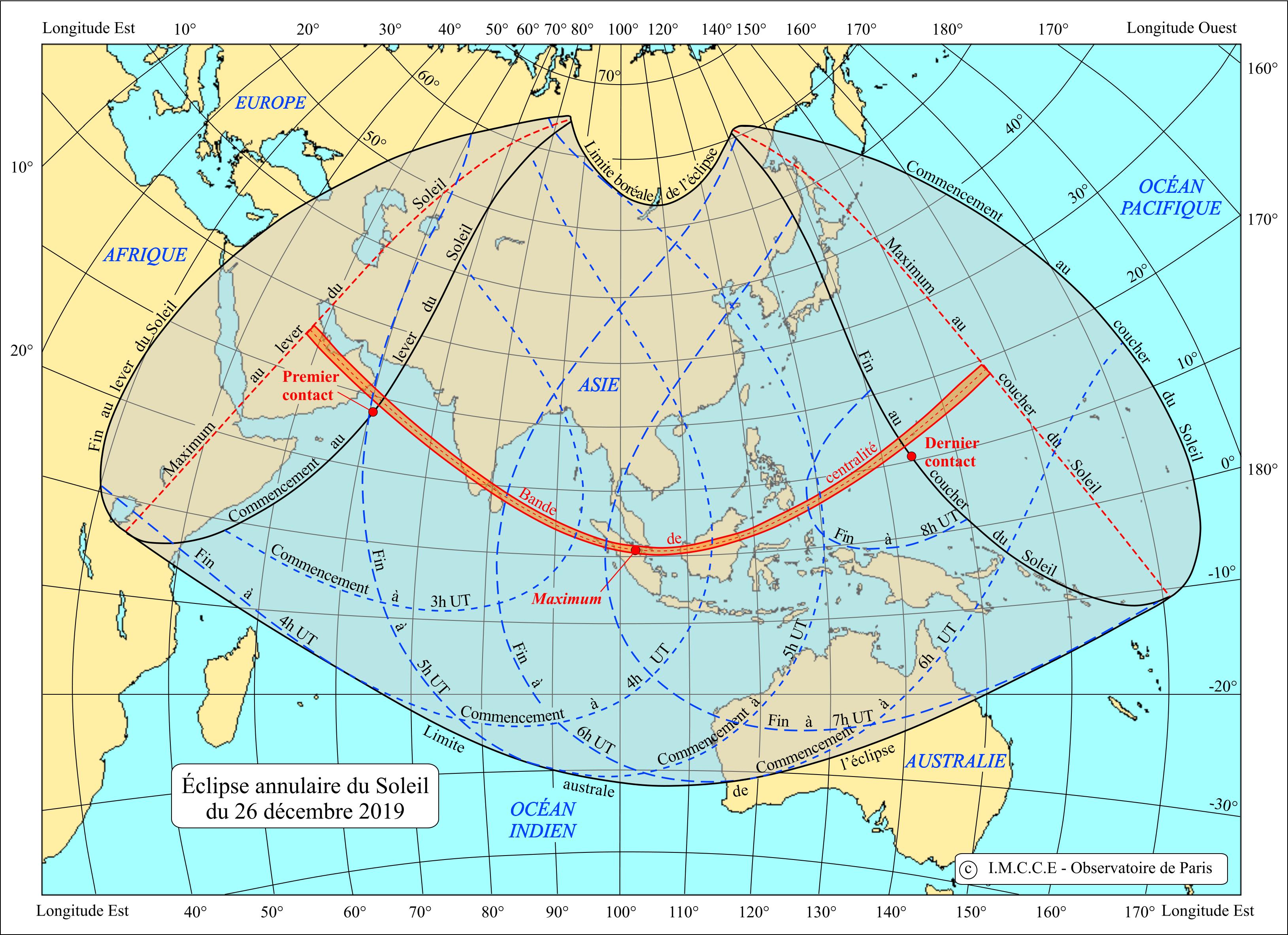 Carte de l'éclipse annulaire de Soleil du 26 décembre 2019