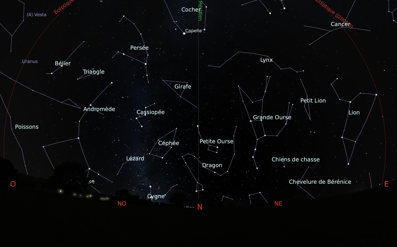 carte du ciel nord du mois de janvier