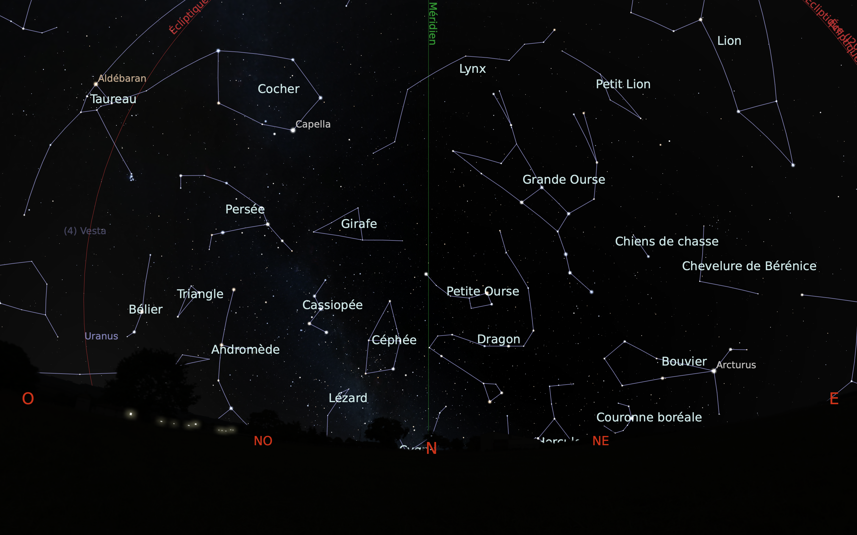 carte du ciel nord du mois de février
