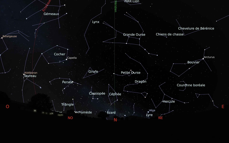 carte du ciel nord du mois de mars