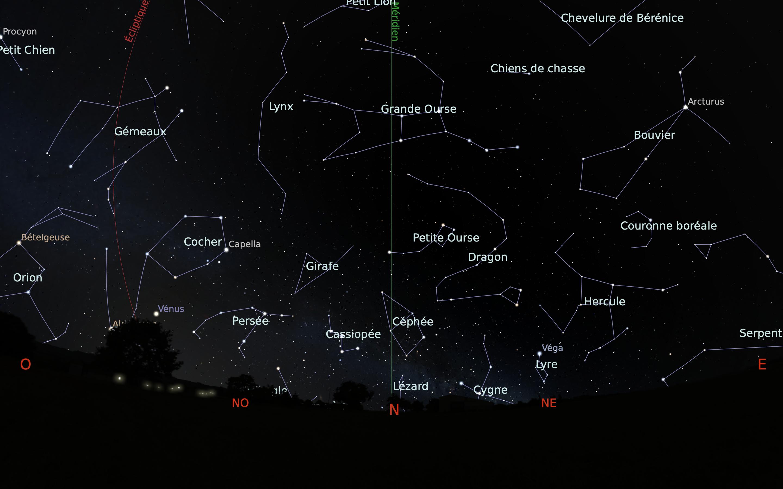 carte du ciel nord du mois d'avril 2020