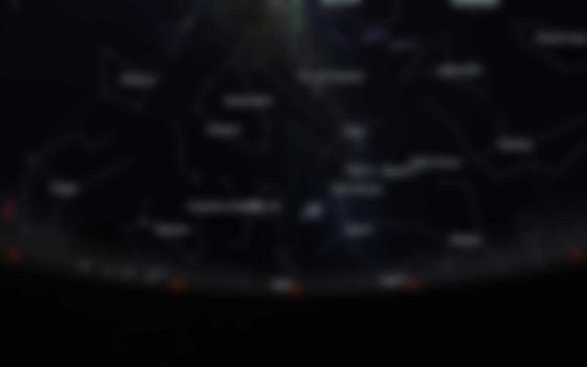Carte du ciel de l'hémisphère sud, en direction du nord, au 15juillet 2020