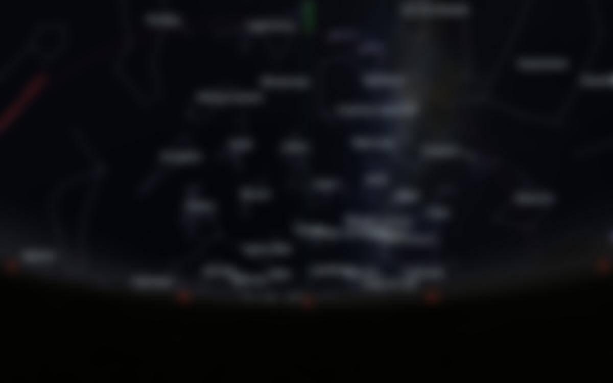 Carte du ciel de l'hémisphère sud, en direction du sud, au 15août 2020