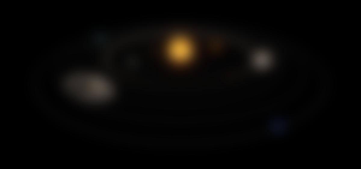 Visualisation 3D du Système solaire (échelle non respectée)