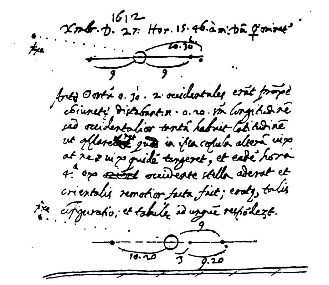 Extrait d'une page du carnet d'observation de Galilée pour ses observations du 27-28décembre 1612 et du 2-3janvier 1613. L'étoile notée «fixa» était en réalité Neptune.