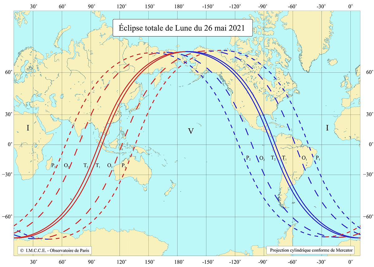 Carte de visibilité de l'éclipse totale de Lune du 26mai 2021