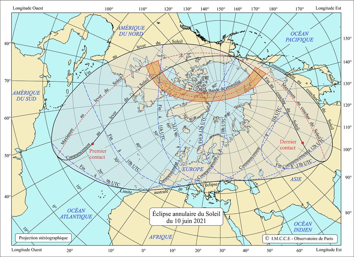 Carte de visibilité de l'éclipse totale du 10juin 2021.