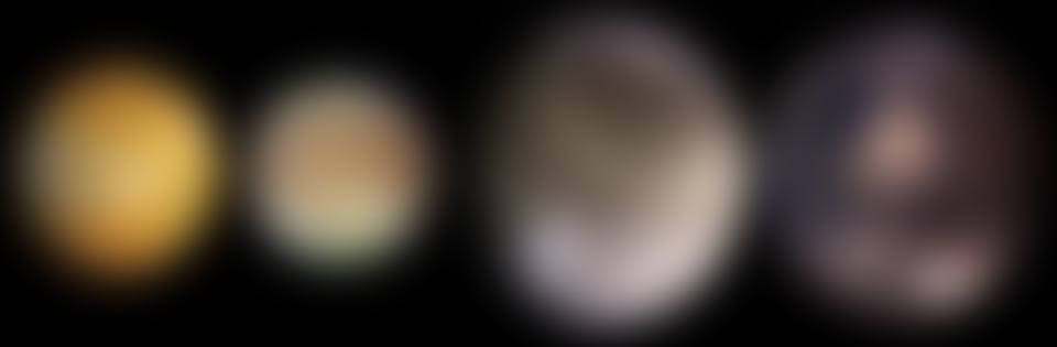 Les quatre satellites galiléens: Io, Europe, Ganymède et Callisto