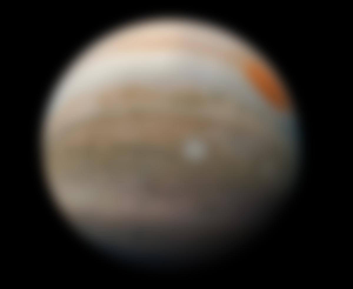 Jupiter photographiée par la sonde Juno le 19février 2019