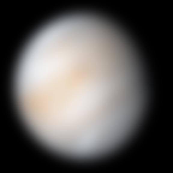 Image composite en fausses couleurs de photographies prises par la sonde Mariner (NASA) les 7 et 8février 1974