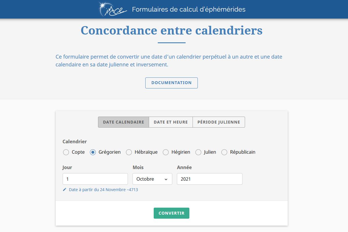 Formulaire de calcul de concordance entre calendriers
