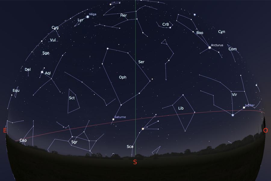 Astronomie carte du ciel jupiter